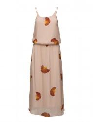 Long Dress W. Fan Flower Print