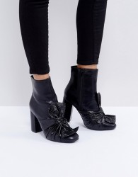 Lost Ink Black Bow Heeled Ankle Boots - Black