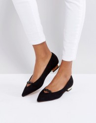 Lost Ink Black Bow Pointed Ballet Shoes - Black