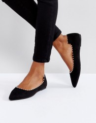 Lost Ink Black Flat Pearl Effect Flat Shoes - Black