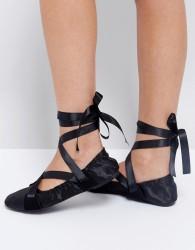 Lost Ink Black Ribbon Tie Ballet Shoes - Black