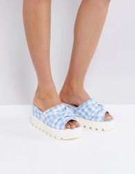 Lost Ink Blue Gingham Chunky Flatform Sandals - Blue