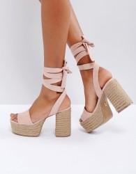 Lost Ink Blush Platform Espadrille Heeled Sandals - Pink