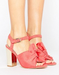 Lost Ink Bow Block Heeled Sandals - Pink