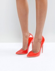 Lost Ink Bright Red Sweetheart Cut Court Shoes - Red