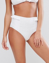 Lost Ink Broderie Frill High Waist Bikini Bottom - White