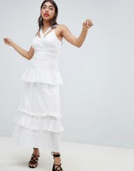 7285d69c3203 Lost Ink Cami Maxi Dress With Ruffle Layers In Crochet Mix Fabric - White