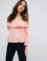 Lost Ink Cami Top With Exaggerated Frill - Pink