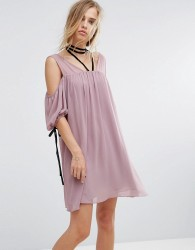 Lost Ink Cold Shoulder Dress With Choker - Pink
