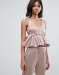 Lost Ink Crop Top With Peplum Hem In Satin Co-Ord - Pink