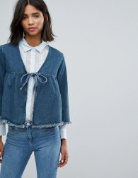 Lost Ink Cropped Denim Jacket With Bow - Blue