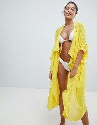 Lost Ink Dobby Spot Maxi Beach Cover Up - Yellow
