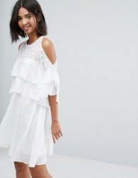 Lost Ink Floaty Dress With Frills - White