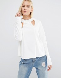 Lost Ink Frill Neck Top With Cut Outs - Cream