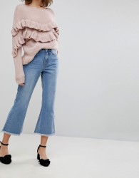 Lost Ink Kick Flare Jeans With Raw Hems - Blue