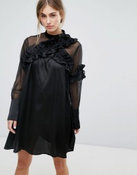 Lost Ink Long Sleeve Shift Dress With Sheer Mesh Panel And Ruffle Trims - Black