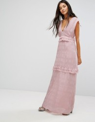 Lost Ink Maxi Dress With Frills - Pink