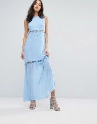 Lost Ink Maxi Dress With Tie Up Bow Details - Blue
