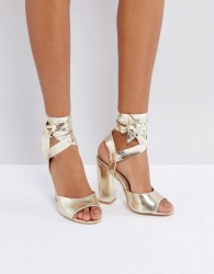 Lost Ink Metallic Gold Ankle Tie Heeled Sandals - Gold