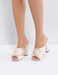 Lost Ink Pleat Detail Mules - Pink