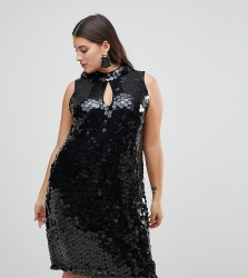 Lost Ink Plus High Neck Swing Dress In Sequin - Black