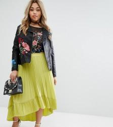 Lost Ink Plus Pleated Dip Hem Skirt - Yellow