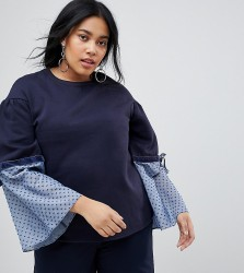 Lost Ink Plus Relaxed Sweatshirt With Contrast Woven Cuffs - Navy