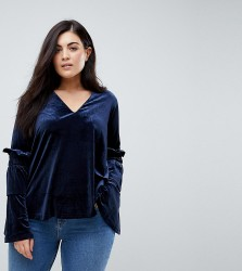Lost Ink Plus Smock Top With Exaggerated Sleeves In Velvet - Navy