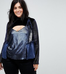 Lost Ink Plus Velvet Flared Sleeve Top With Sequin Cami Overlay - Navy