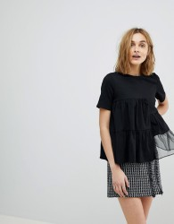 Lost Ink Relaxed T-Shirt With Woven Chiffon Panels - Black