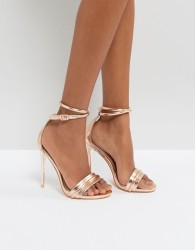 Lost Ink Rose Gold Heeled Sandals - Gold