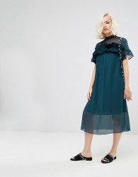 Lost Ink Shift Dress With Sheer Panel And Ruffle - Green