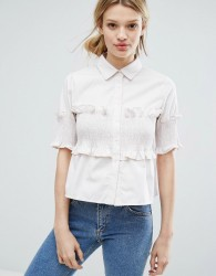 Lost Ink Short Sleeve Shirt With Frill Details - Beige