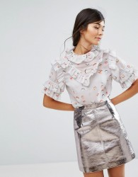Lost Ink Short Sleeve Top With Frills - Grey