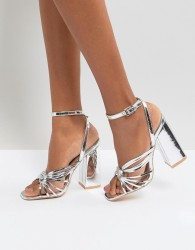 Lost Ink Silver Block Heeled Strappy Sandals - Silver