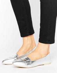 Lost Ink Silver Point Loafers - Silver