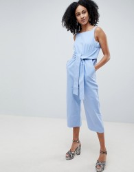 Lost Ink Sleeveless Jumpsuit With Tie Waist - Blue