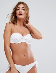 Lost Ink Stitched Cup Bikini Top - White