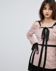 Lost Ink Top With Eyelet Tie Details - Pink