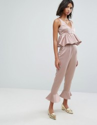 Lost Ink Trousers With Peplum Hem Co-Ord - Pink
