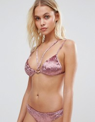 Lost Ink Velvet Strappy Bikini Top - Pink