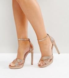 Lost Ink Wide Fit Bee Rose Gold Glitter Platform Heeled Sandals - Gold