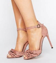 Lost Ink Wide Fit Blush Ruffle Heeled Sandals - Pink