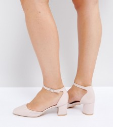 Lost Ink Wide Fit Mid Heeled Blush Patent Heeled Shoes - Pink