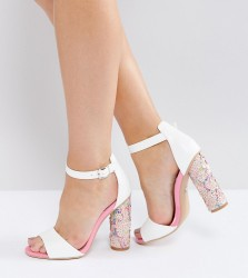 Lost Ink Wide Fit Pink Sequin Heeled Sandals - Multi