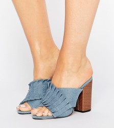 Lost Ink Wide Fit Pleated Denim Mules - Blue