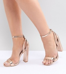 Lost Ink Wide Fit Rose Gold Blaise Block Heeled Sandals - Gold