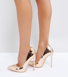 Lost Ink Wide Fit Rose Gold Heeled Court Shoes - Gold