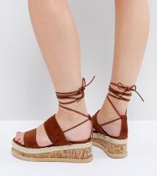 Lost Ink Wide Fit Tan Flatform Espadrille Sandals - Tan