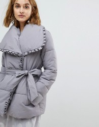Lost Ink Wrap Front Padded Coat With Shawl Collar - Grey